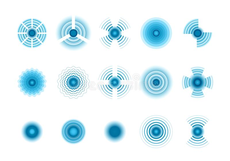 Sinais da onda Símbolos gráficos azuis de pulsações de rádio circulares concêntricas da onda Os ícones do vetor ajustaram-se ilustração royalty free
