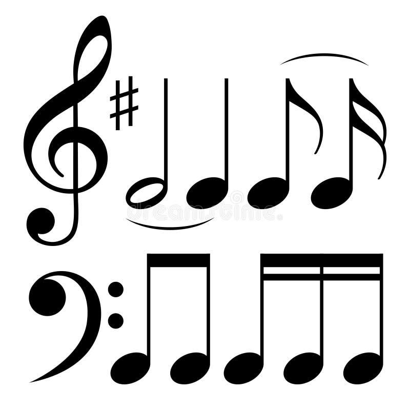 Sinais da partitura como o s?mbolo da melodia ilustração do vetor