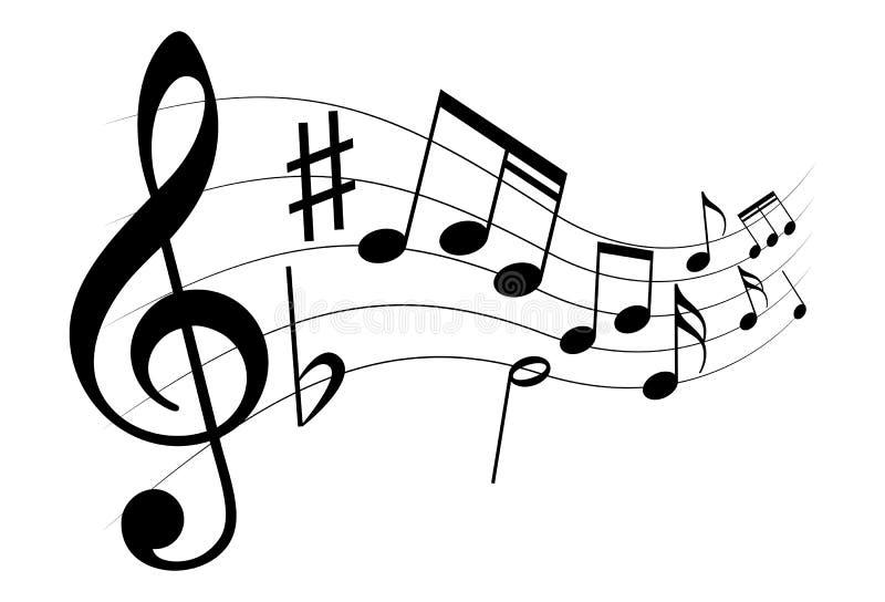 Sinais da partitura como o s?mbolo da melodia ilustração royalty free