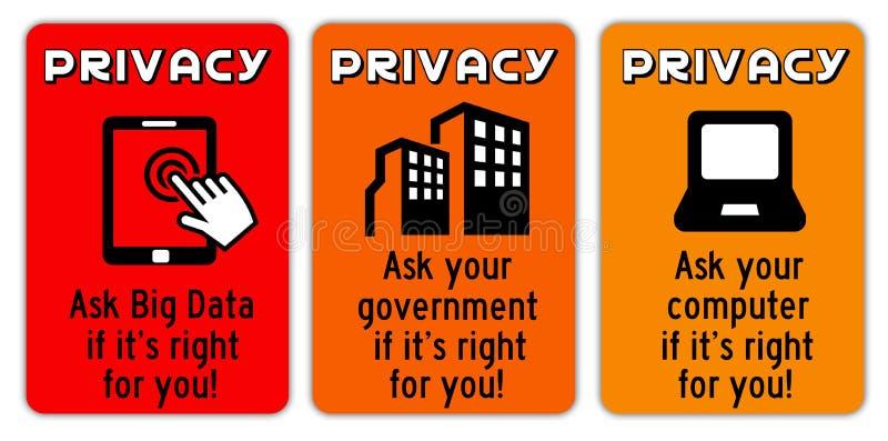 Sinais da privacidade ilustração do vetor