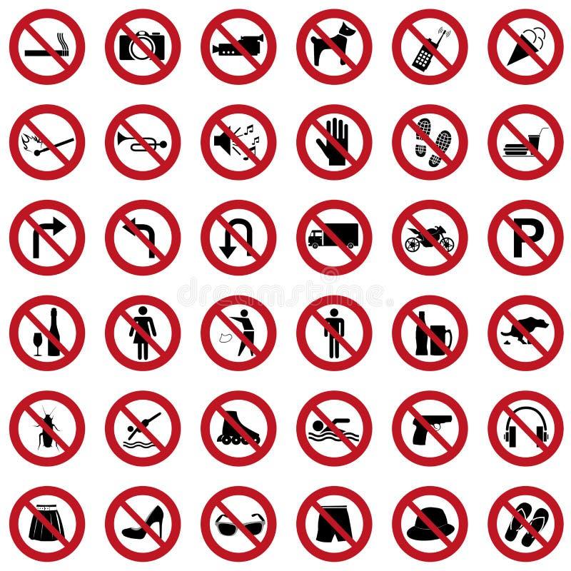 Sinais da proibição ilustração stock