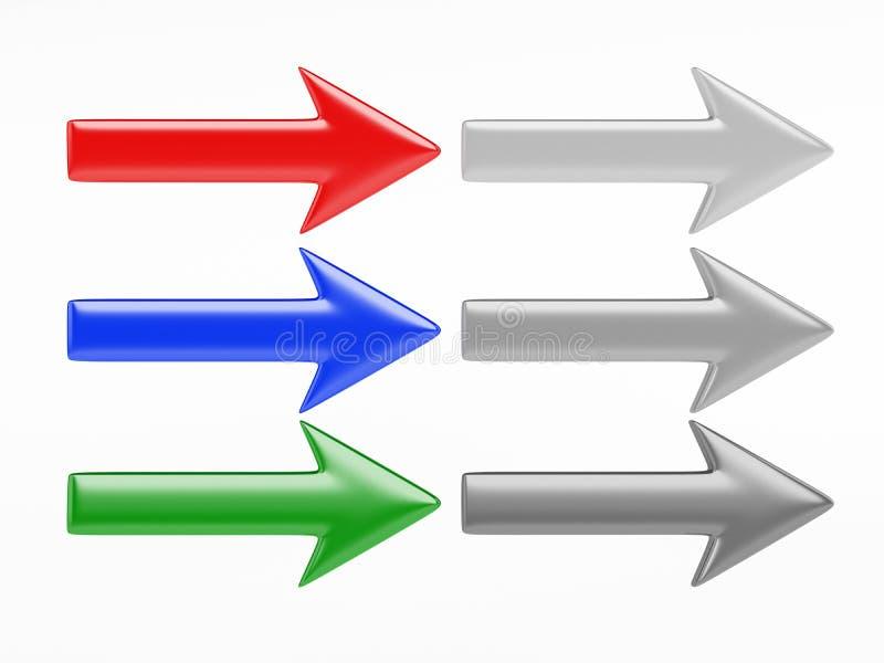 sinais da seta 3D ilustração do vetor