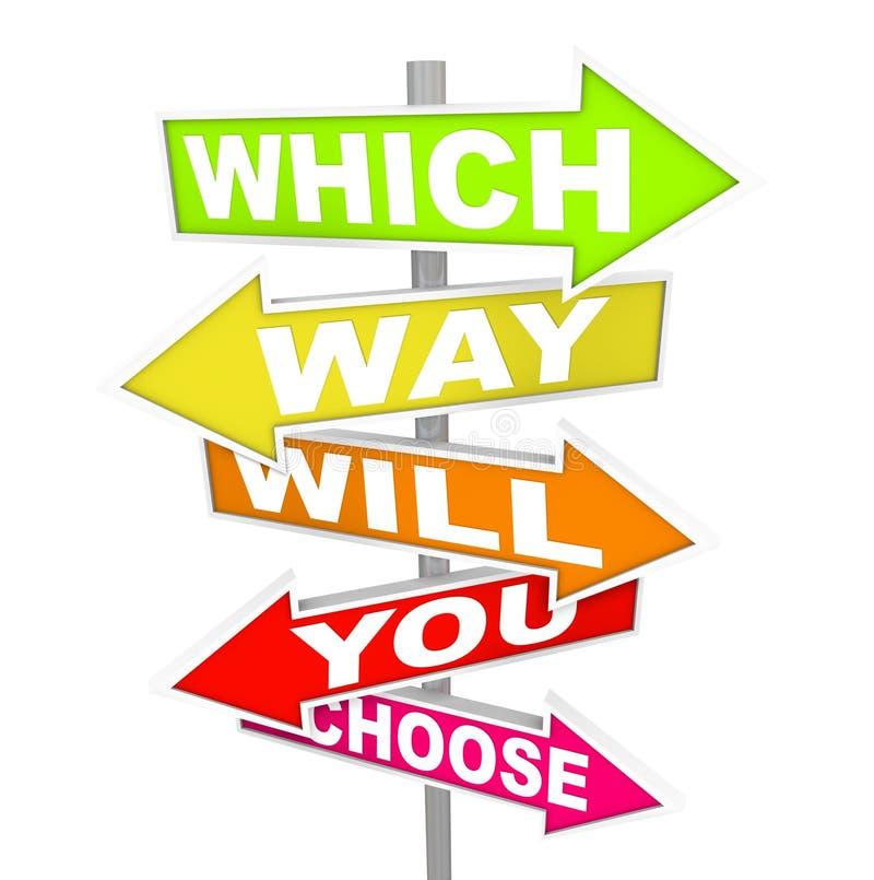 Sinais da seta - que a maneira você escolherá? ilustração stock