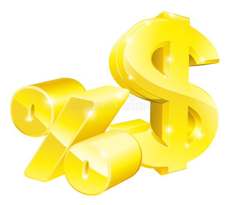 Sinais da taxa de porcentagem do dólar ilustração stock