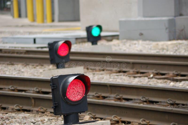 Sinais da trilha do trem fotos de stock