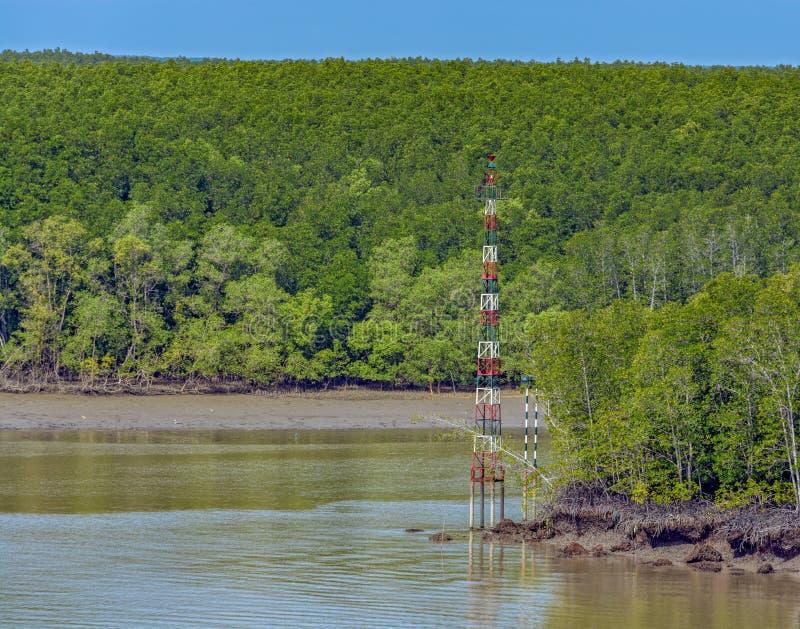 Sinais da via navegável em rios em Vietname foto de stock