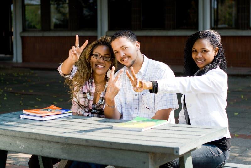 Sinais da vitória dos estudantes universitários imagens de stock