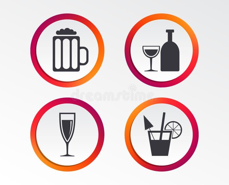 Sinais das bebidas alcoólicas Champagne, ícones da cerveja ilustração royalty free