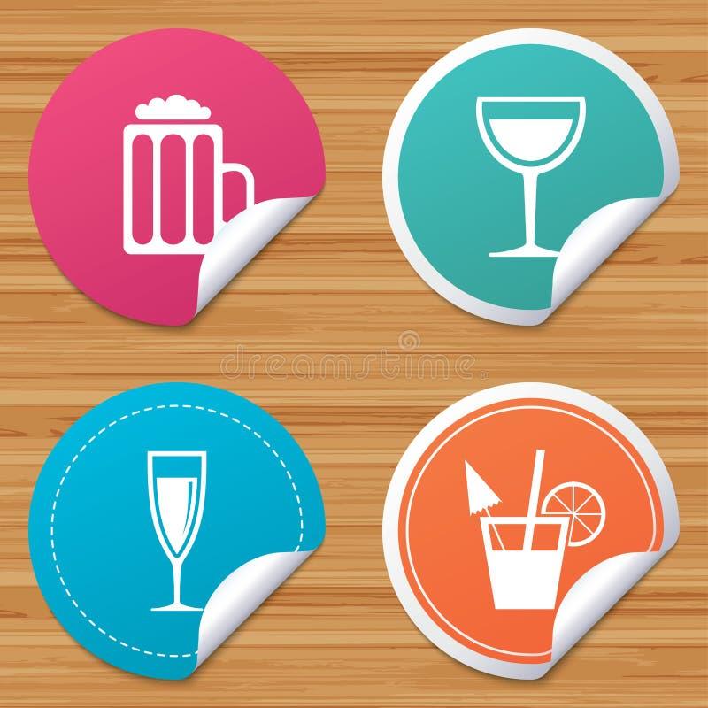 Sinais das bebidas alcoólicas vinho, ícones da cerveja ilustração royalty free