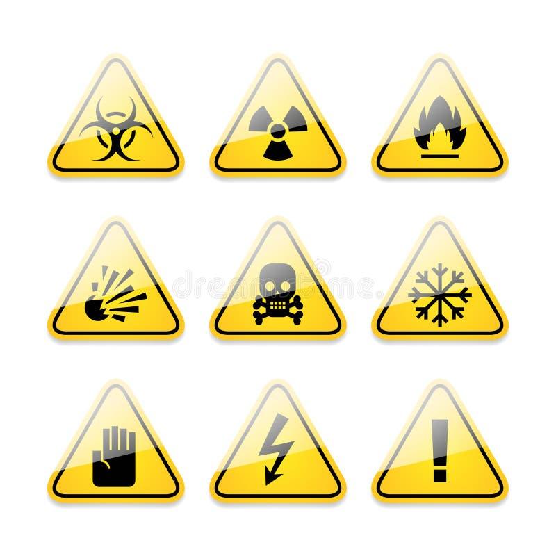 Sinais de aviso dos ícones do perigo ilustração do vetor