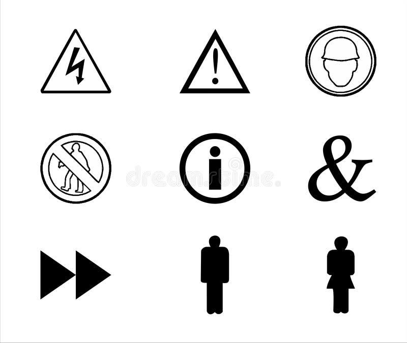Sinais de aviso e símbolos imagem de stock
