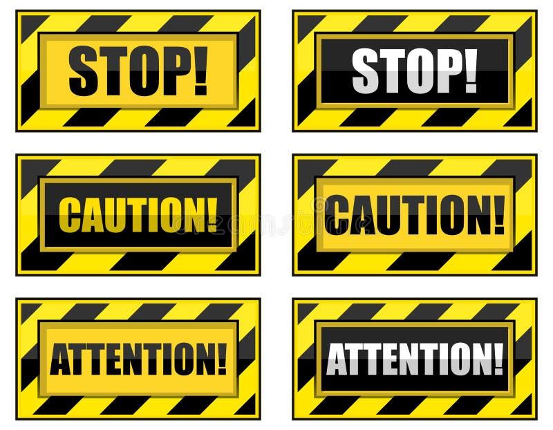 Sinais de aviso listrados ilustração stock