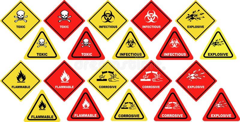 Sinais de aviso perigosos dos bens ilustração stock