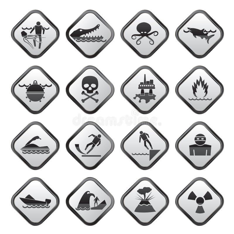 Sinais de aviso preto e branco para perigos no mar, no oceano, na praia e nos rios ilustração royalty free