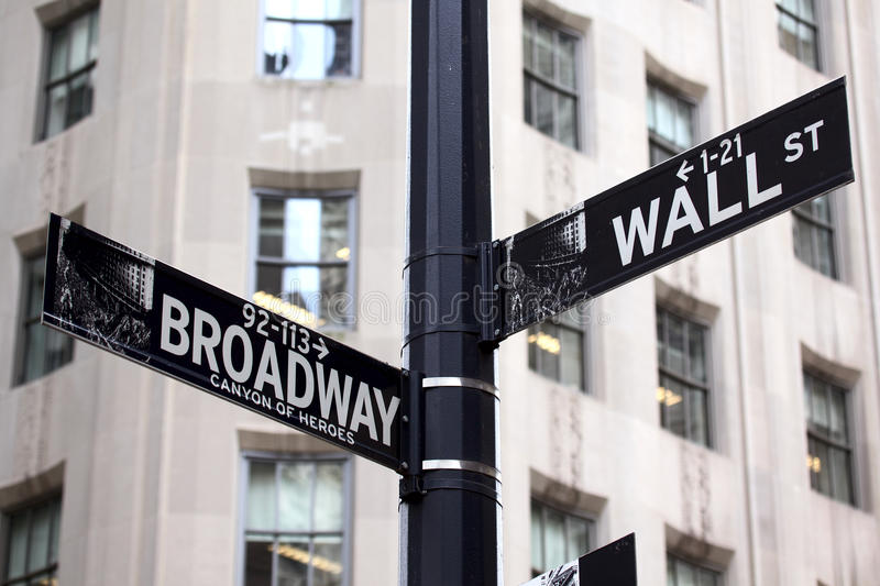 Sinais de Broadway e de Wall Street fotos de stock