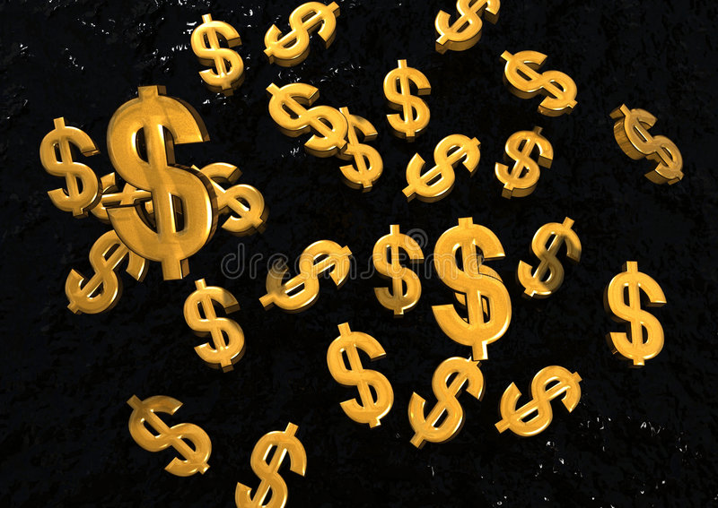 Sinais de dólar de queda do ouro ilustração stock