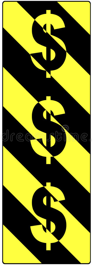 Sinais de dólar em um sinal de aviso do tráfego ilustração do vetor