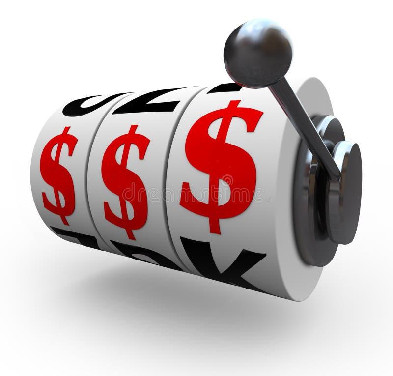 Sinais de dólar nas rodas da máquina de entalhe - jogando ilustração stock