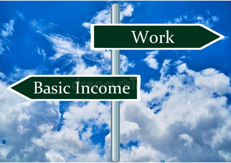 Sinais de dinheiro de trabalho e rendimento básico imagens de stock royalty free
