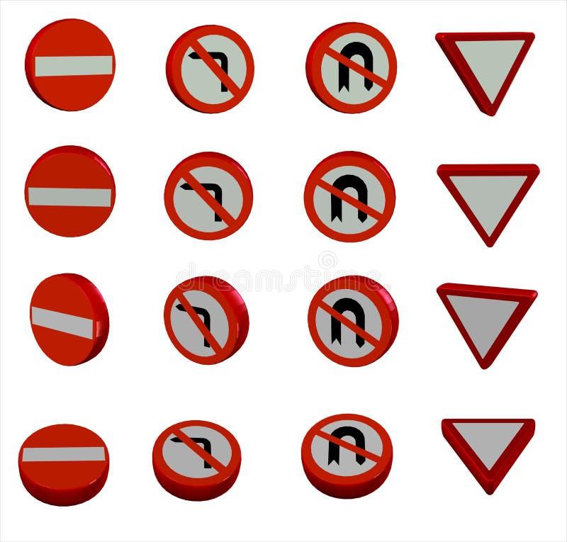sinais de estrada 3D ilustração royalty free