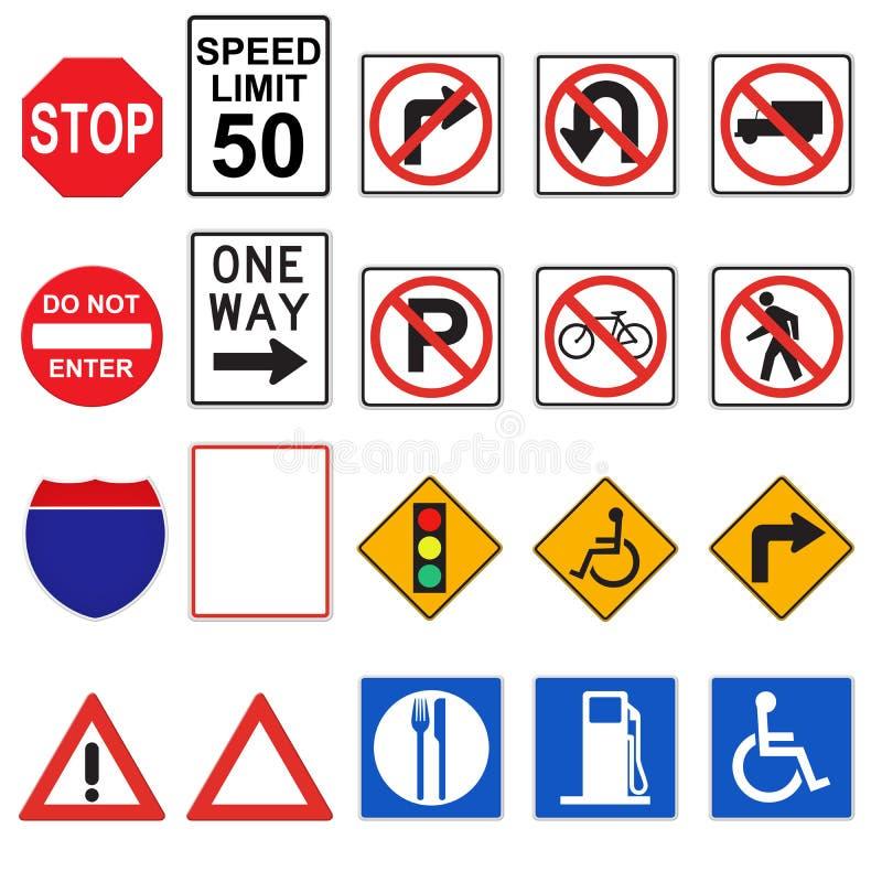 sinais de estrada 3D (parte dianteira vista) ilustração royalty free