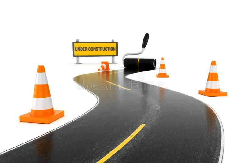 sinais de estrada 3d, sob a mensagem da construção e o pintor da cor que pintam a estrada imagem de stock