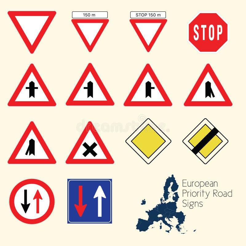 Sinais de estrada da prioridade de Europa fotografia de stock