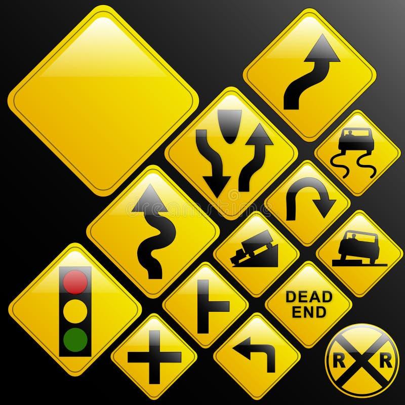 Sinais de estrada de advertência Glassy ilustração do vetor