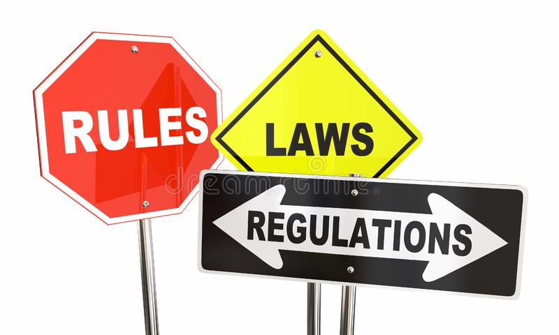 Sinais de estrada do rendimento da parada dos regulamentos das leis das regras ilustração royalty free