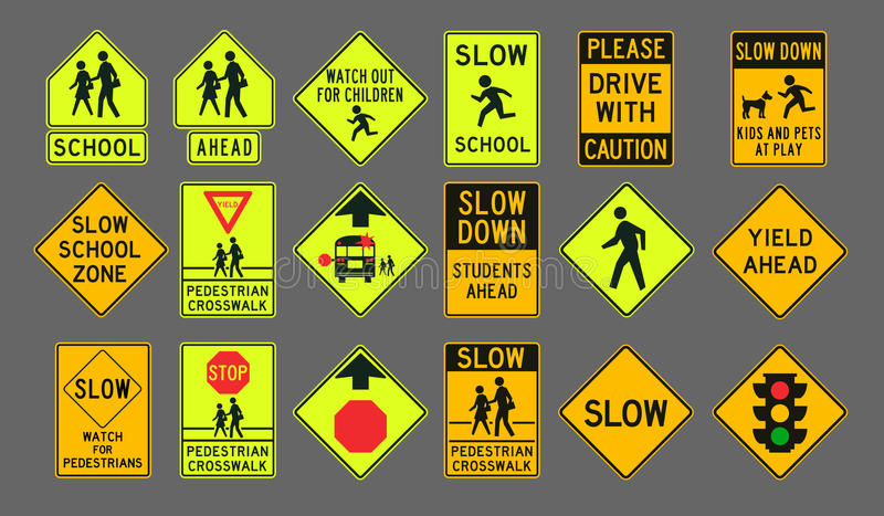 Sinais de estrada dos pedestres ilustração do vetor