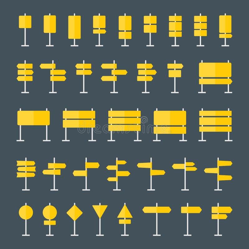 Sinais de estrada e ícones lisos dos ponteiros ajustados ilustração do vetor