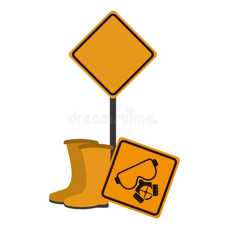 Sinais de estrada e botas da construção ilustração do vetor