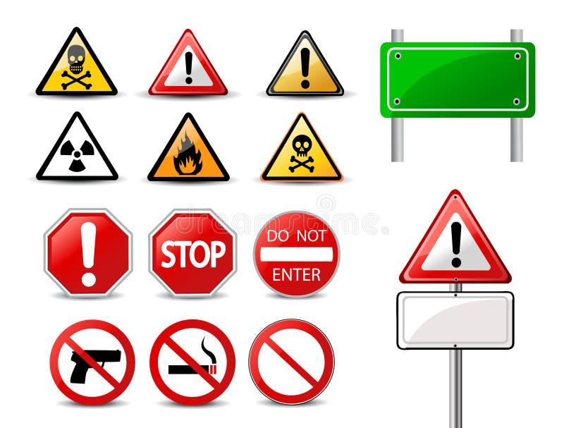 Sinais de estrada e sinais de perigo de advertência triangulares ilustração do vetor