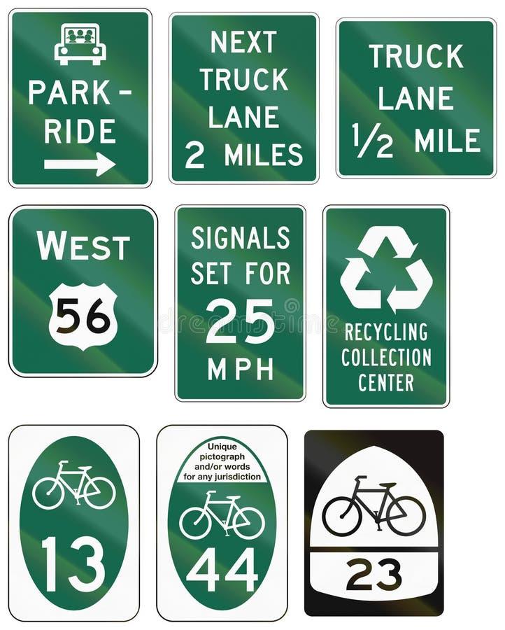 Sinais de estrada informativos do Estados Unidos MUTCD ilustração do vetor
