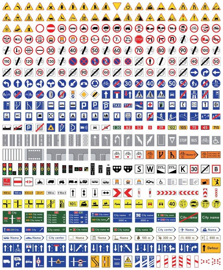 Sinais de estrada isolados no fundo branco Sobre quatro cem sinais de estrada de alta qualidade do tráfego ilustração royalty free