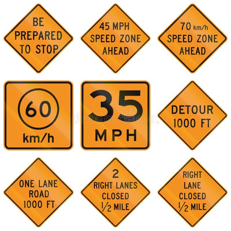 Sinais de estrada provisórios do Estados Unidos MUTCD ilustração royalty free