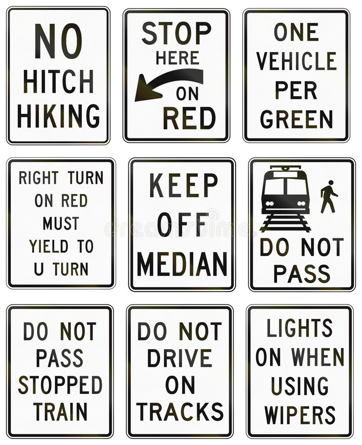 Sinais de estrada reguladores do Estados Unidos MUTCD ilustração do vetor