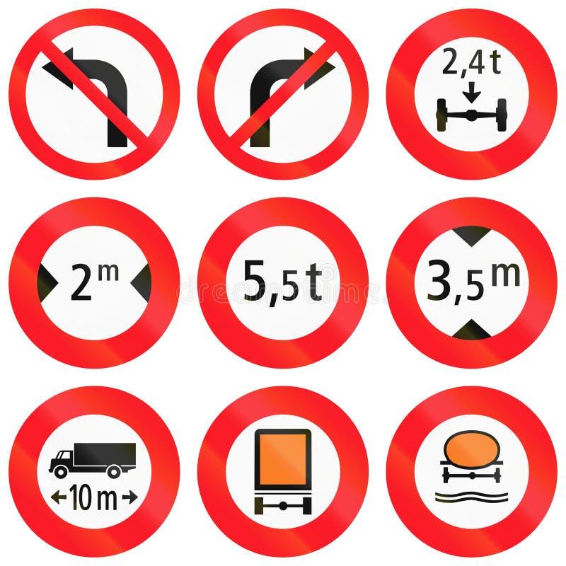 Sinais de estrada reguladores usados em Suíça ilustração do vetor