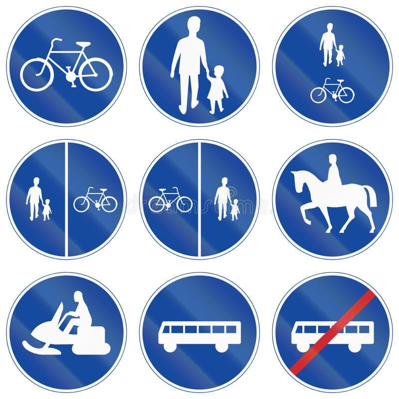 Sinais de estrada reguladores usados na Suécia ilustração do vetor