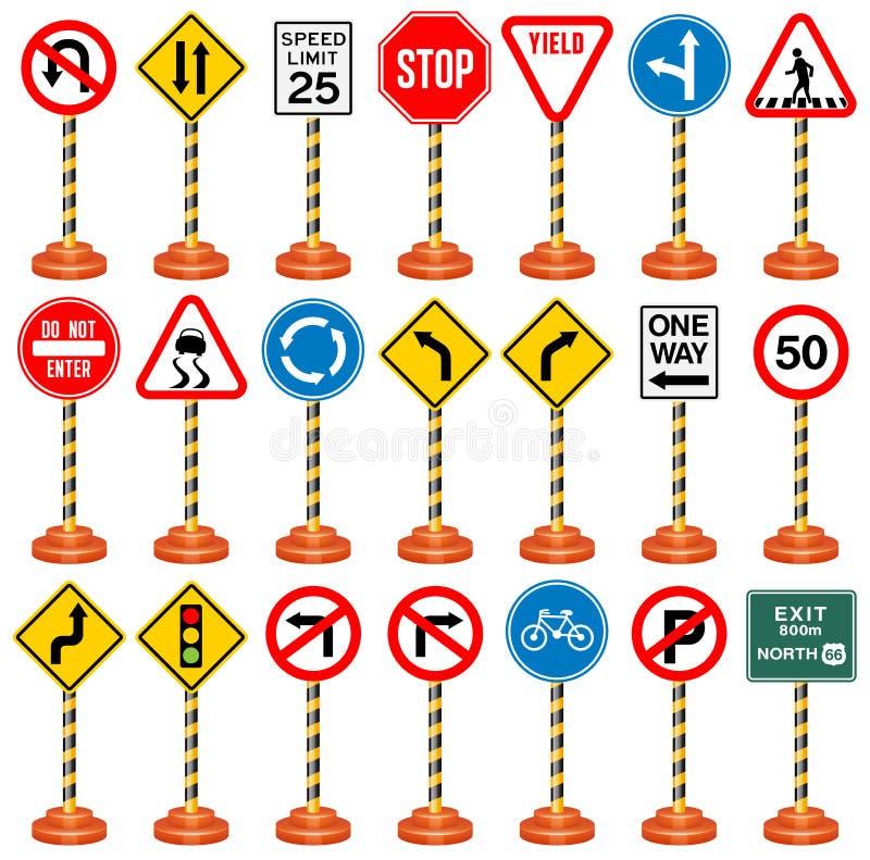 Sinais de estrada, sinais de tráfego, transporte, segurança, curso ilustração royalty free