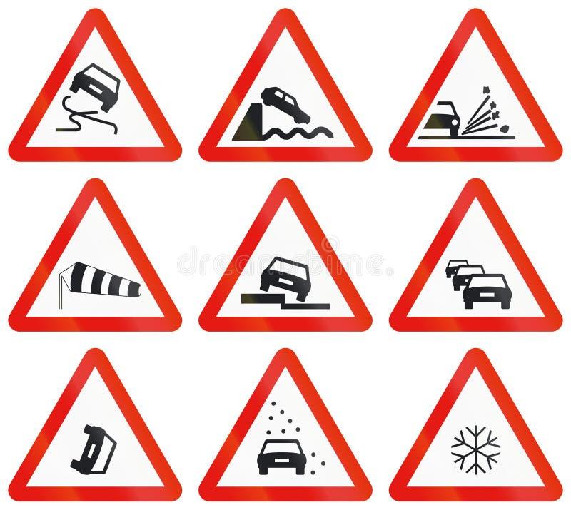 Sinais de estrada usados na Espanha ilustração do vetor