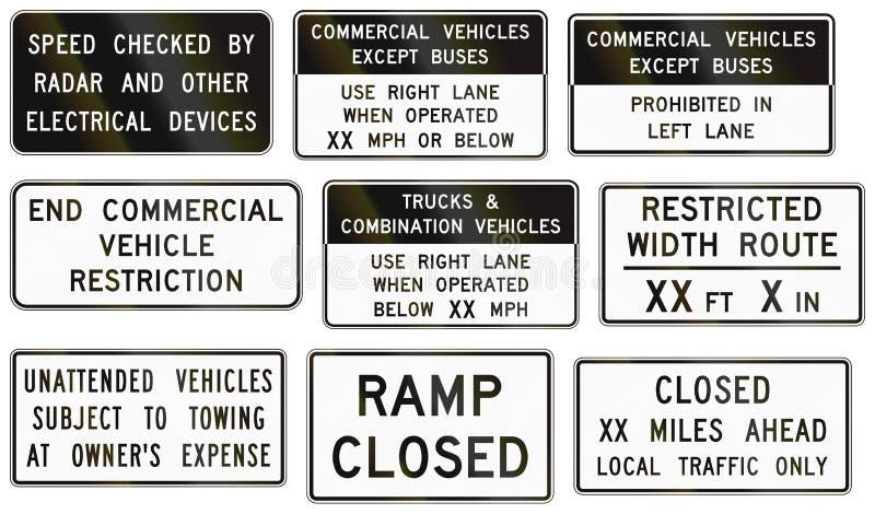 Sinais de estrada usados no estado de E.U. de Virgínia ilustração royalty free