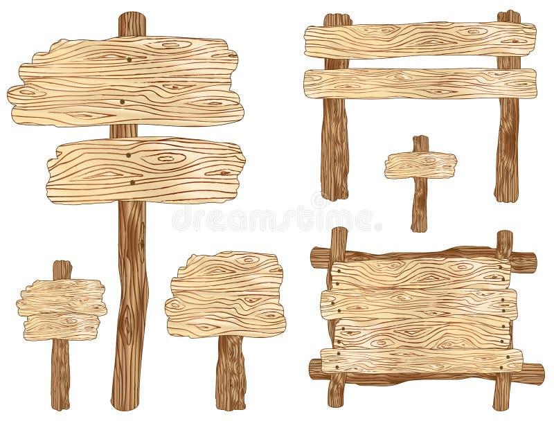 Sinais de madeira ilustração do vetor
