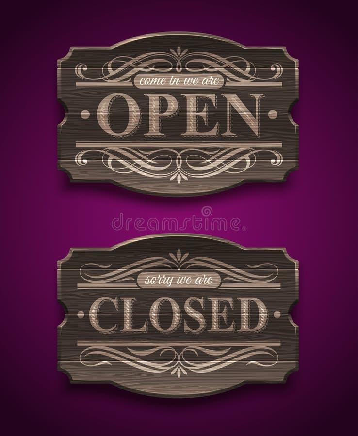 Sinais de madeira abertos e fechados do vintage ilustração stock