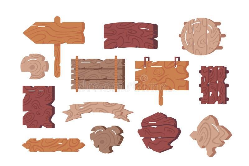 Sinais de madeira ajustados ilustração stock