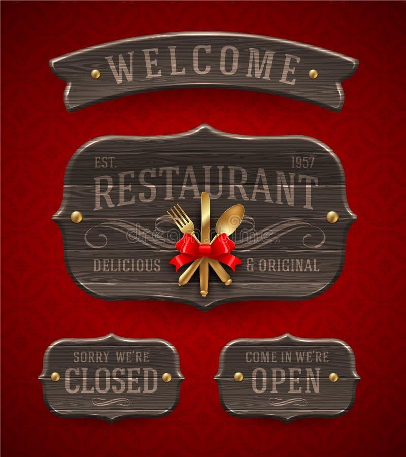 Sinais de madeira do restaurante do vintage ilustração royalty free