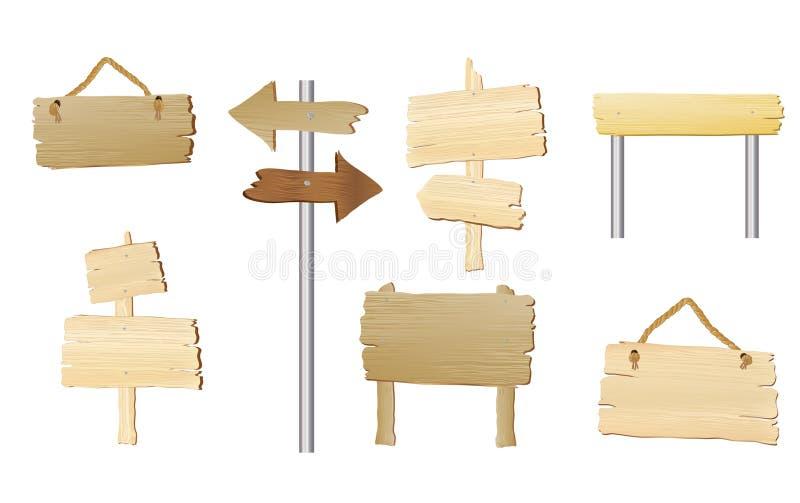Sinais de madeira em branco ilustração royalty free