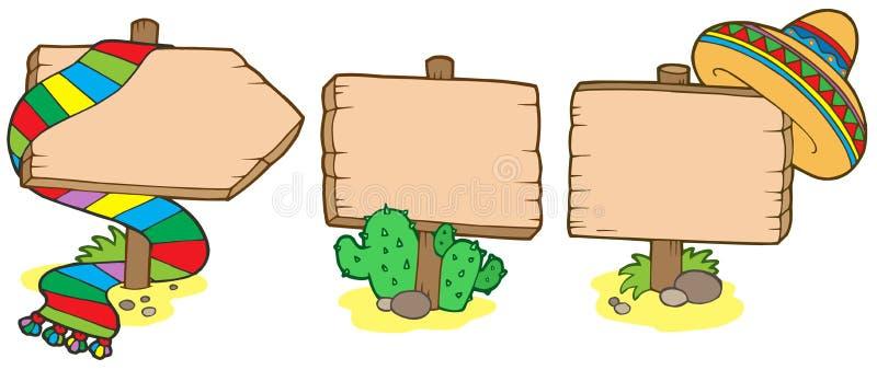 Sinais de madeira mexicanos ilustração do vetor