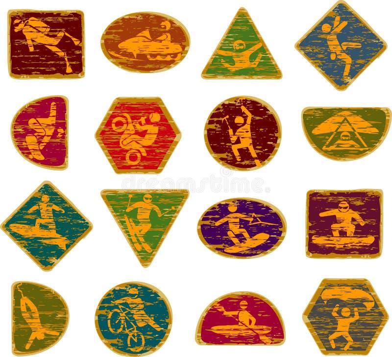 Sinais de madeira riscados dos jogos de X ilustração do vetor