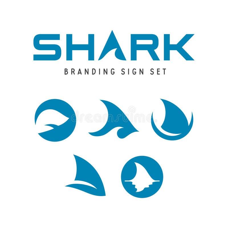Sinais de marcagem com ferro quente do tubarão ajustados Ilustração do vetor ilustração royalty free